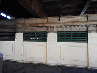 Harlem–125th Street station - The station's former New York Central Railroad comfort station across 125th Street, which has been abandoned for a long time.