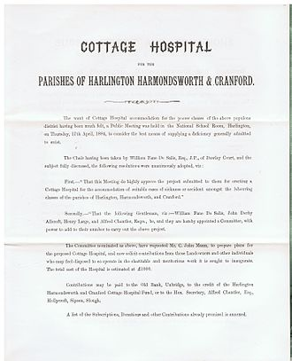 Harlington, Harmondsworth and Cranford Cottage Hospital - Text of Statement as to the need..., 1884.