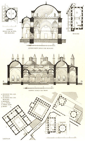 Haseki Sultan Complex - Elevations and plans published by Cornelius Gurlitt in 1912