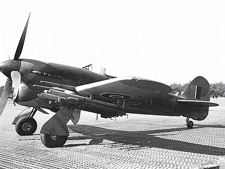 The Hawker Typhoon, especially when armed with eight RP-3 rockets, posed a threat to German armour and motor vehicles during the Battle of Normandy in 1944. Hawker Typhoon ExCC.jpg