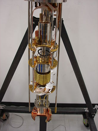 Dilution refrigerator - The inside of a helium dilution refrigerator, with the vacuum cans removed.