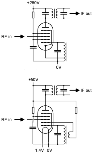 Pentagrid converter - Basic heptode-based self-oscillating pentagrid converter circuits. Top: Indirectly-heated variant Bottom: Directly-heated variant, which requires the cathode to be grounded