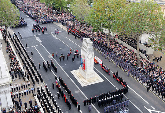 The ceremony at the Cenotaph Her Majesty the Queen Lays a Wreath at the Cenotaph London During Remembrance Sunday Service MOD 45152054.jpg