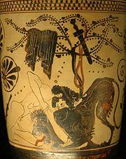Ο Ηρακλής παλεύει με το λιοντάρι της Νεμέας. Λευκή λήκυθος του «Ζωγράφου του Διόσφου», πρώτο τέταρτο 5ου αι. π.Χ.