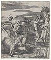 Hercules defeating the river god Acheolus in the form of a bull, with three women to his left holding cornucopias, from a series of six engravings of Herculean Subjects MET DP855254.jpg