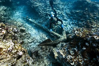 Pearl and Hermes Atoll - An early 19th century anchor at the Hermes shipwreck site