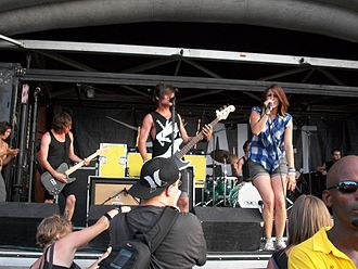 Hey Monday - Hey Monday performing at Warped Tour in Charlotte, NC in July 2010