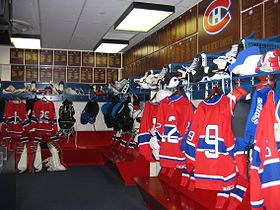 Recreation of Montreal Canadiens Dressing Room from the Montreal Forum