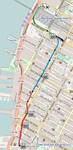 Map of the High Line in Manhattan