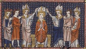 Hilary of Poitiers - The Ordination of Saint Hilary. From a 14th-century manuscript.