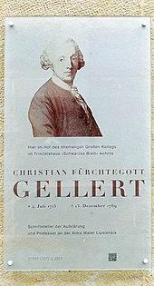 Hinweisschild: Wohnung Gellerts in Leipzig (Ritterstraße) (Quelle: Wikimedia)