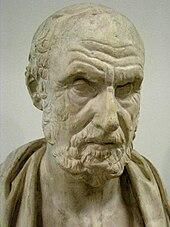 Stone sculpture of a man's head