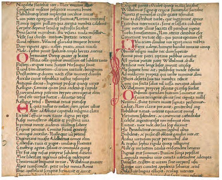 Ein Hirsauer Schreiber imitiert um 1500 eine romanische Minuskel: Vita metrica des Abts Wilhelm (Hauptstaatsarchiv Stuttgart  J 522 B I 669)