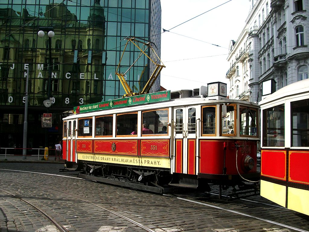 Historical tram on the line 91 in Prague - 2012 -2