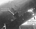 Holes caused by the SA-7 missile blast at the tail section of AC-130 gunship (left).jpg