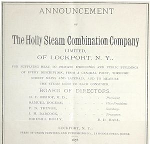 Holly Steam Combination Company - 1878 announcement of the Holly Steam Combination Company