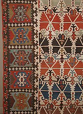 2de90d8fa7bc7 Detail of a 19th-century Anatolian kilim, with rows of crosses (Turkish:  Haç) and scattered S-shaped hooks (Turkish: Çengel), both to ward off the evil  eye
