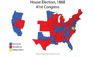 United States House of Representatives elections, 1868 - Map of U.S. House elections results from 1868 elections for 41st Congress