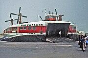 Hoverlloyd hovercraft on an English Channel beach, 1973