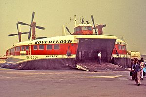 Hoverlloyd - Hoverlloyd craft Swift on an English Channel beach, 1973