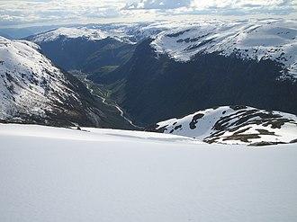 Høyanger - View of the Høyanger valley from the mountain Havren