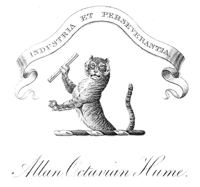 "Book plate ""Industria et Perseverantia"" with tiger holding ruler"