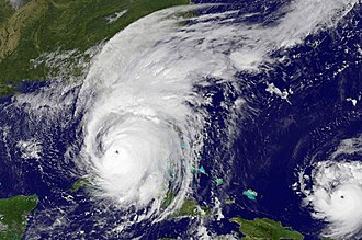Hurricane Irma - Hurricane Irma on September 10, just before landfall on Florida. Hurricane Jose can be seen to the lower right.