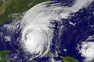 Hurricane Irma - Hurricane Irma on September 10, just before landfall on Florida. Hurricane Jose can be seen to the lower right.