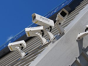 Closed-circuit television - Surveillance cameras on the corner of a building.