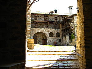 Acts of Philip - Courtyard of the Xenophontos monastery on Mount Athos where the complete text of the Acts of Philip was discovered