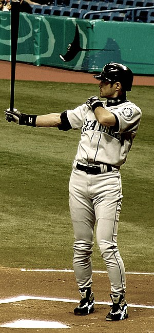 Ichiro's pre-pitch batting stance, May 2005. P...