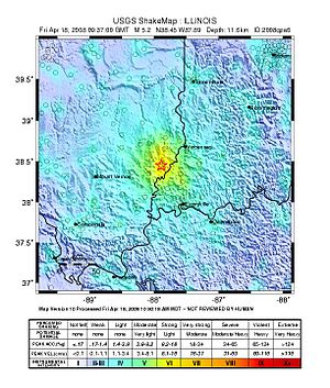 2008 Illinois earthquake - USGS ShakeMap for the event