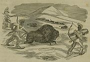 Native Americans hunting bison, from an 1855 illustration