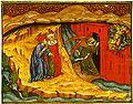 Inf. 09 Vitae Imperatorum Master, Dante e Virgilio osservano il messaggero celeste che apre la porta di Dite (Inferno IX), ca. 1440.jpg