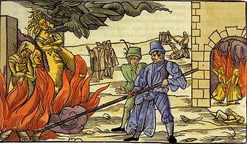 Grabado medieval mostrando dos hombres atizando una hoguera sobre la cual arden tres mujeres (una de ella es tomada por un dragón que sale de una nube).
