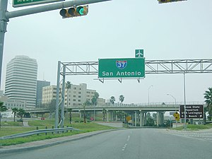 Interstate 37 - The southern terminus of I-37 in Corpus Christi