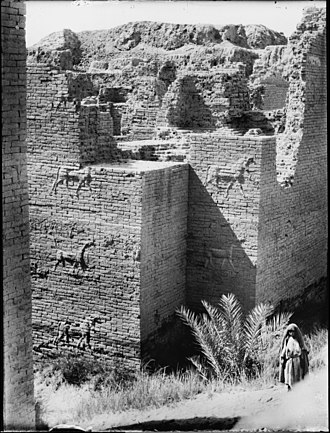 Ishtar Gate - Photo of the remains from the 1930s of the excavation site in Babylon