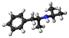 Ball-and-stick model of the isopropylamphetamine molecule