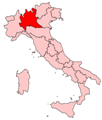 Location of Lombardy in Italy