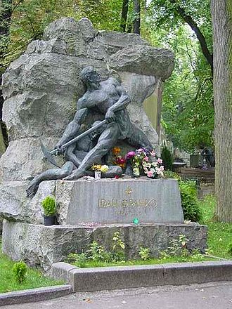 Ivan Franko - The grave of Ivan Franko in the Lychakivskiy Cemetery in Lviv, Ukraine. He is depicted here as a stone breaker (kamenyar) in reference to one of his most famous poems.