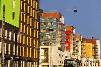 Foundation for Student Housing in the Helsinki Region - HOAS houising (right) in Jätkäsaari, Helsinki