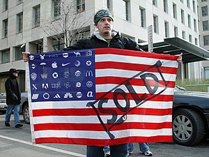 Flag Desecration Amendment - It remains an open question whether flags such as this one, which contains corporate logos in place of the fifty stars, would fall under the amendment.