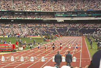 100 metres hurdles - A 100 m hurdles race at Atlanta 1996.