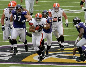 2007 Cleveland Browns season - Jamal Lewis rushes during Cleveland's 33-30 OT win at Baltimore, week 11