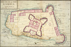 A map of James Island and Fort Gambia.