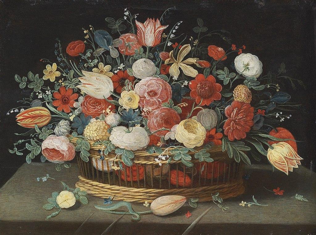 Jan van Kessel de Oude - Rozen, tulpen, irissen en andere bloemen in een mand, op een gedrapeerde tafel bezaaid met bloemen en bladeren.jpg