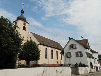 Sasbach am Kaiserstuhl - Jechtingen, church in the street