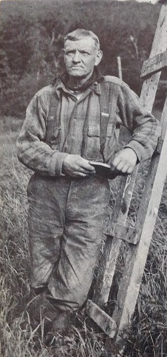 "Lumberjack - Jigger Johnson, the fabled Maine woodsman whom historians Stewart Holbrook and Robert E. Pike call ""the last lumberjack"""