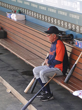 Jim Leyland - Leyland in Tigers dugout at Dodger Stadium, June 22, 2011