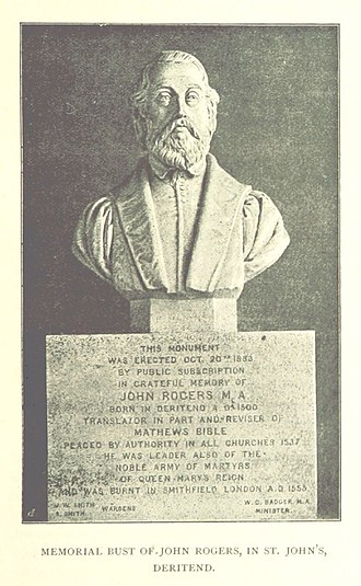 John Rogers (Bible editor and martyr) - Bust, St John's, Deritend